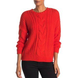 One A Bright Orange Cozy Cable Knit Sweater Size M